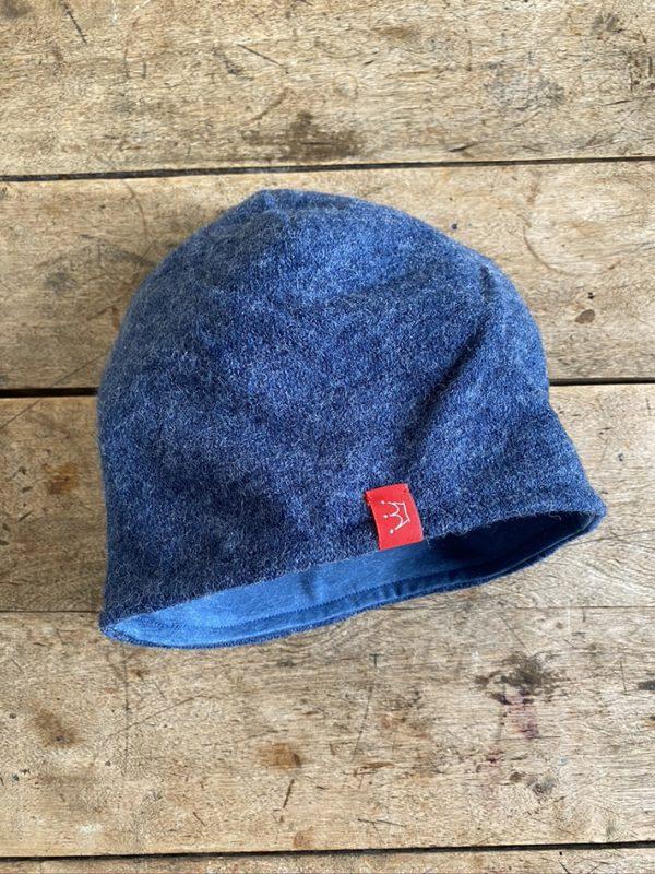 Angora-Jersey-Mütze blau meliert