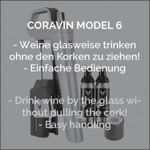 Coravin System Model 6 silber um den offenen Wein länger haltbar zu machen